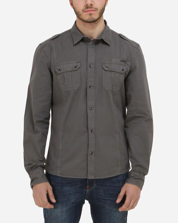 Guess LS Comfort Twill Shirt - Dusty Olive