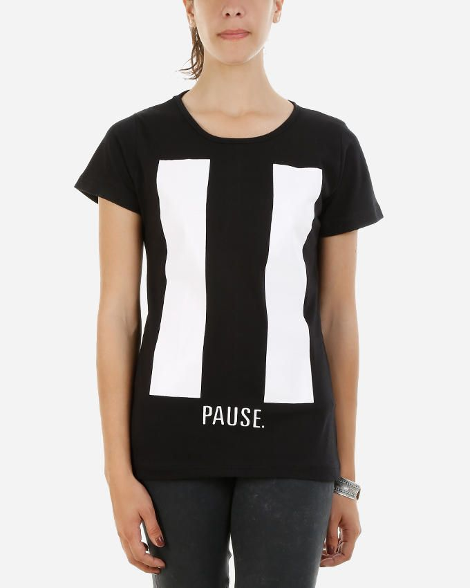 Be Positive Pause T-Shirt - Black