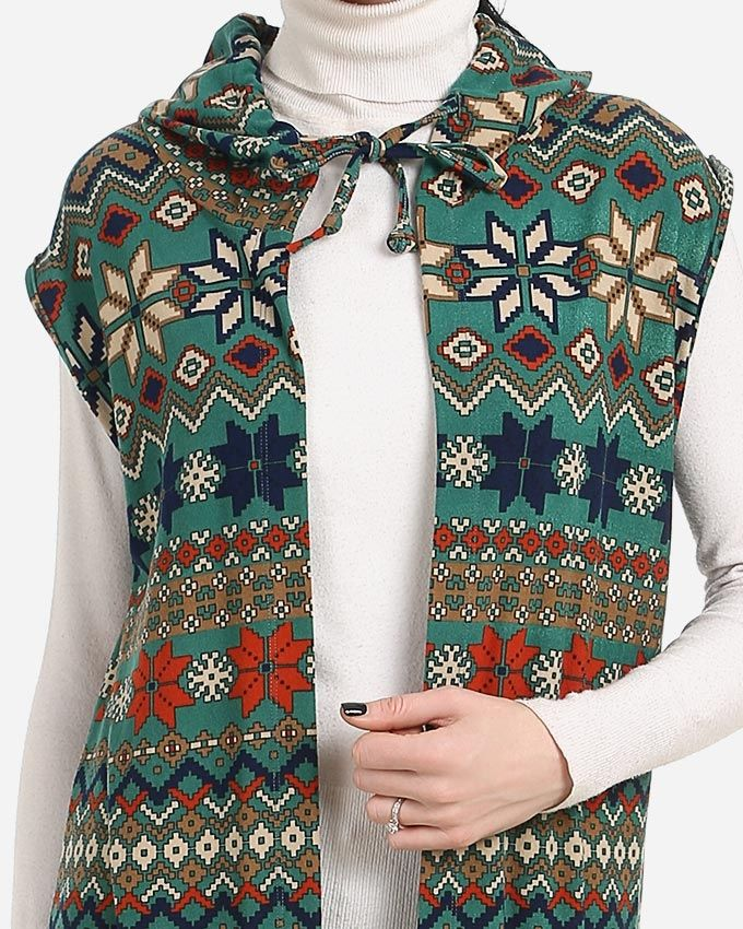 Sleeveless Hooded Cardigan - Navy Blue, Green, Beige & Coffee