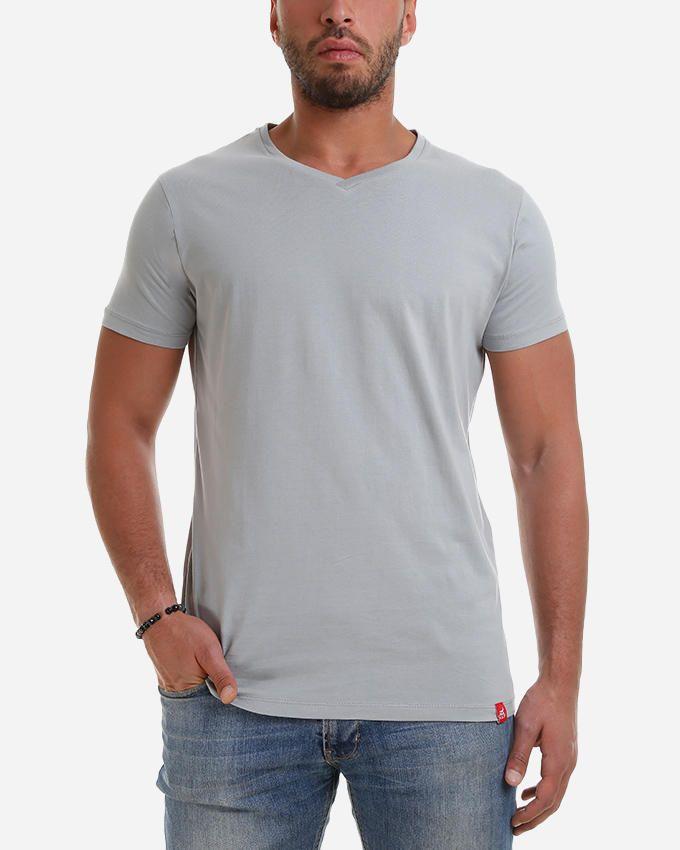 Kaf Cotton V Neck Basic T-Shirt - Titanium