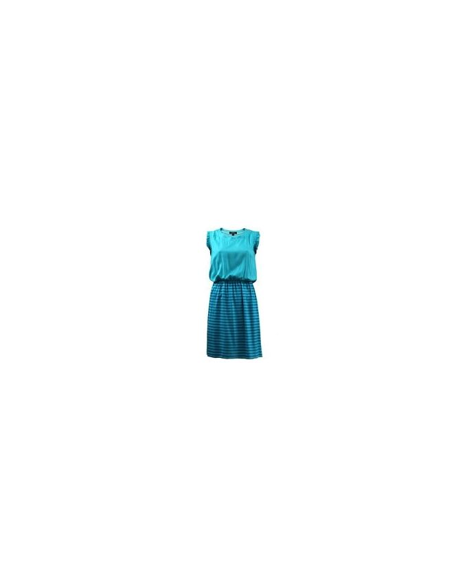 Giro Turquoise Viscose/Cotton Sleeveless Gathered Dress logo
