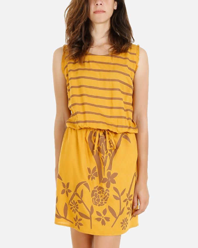 Giro Cotton/Viscose Sleeveless Printed Dress - Mustard