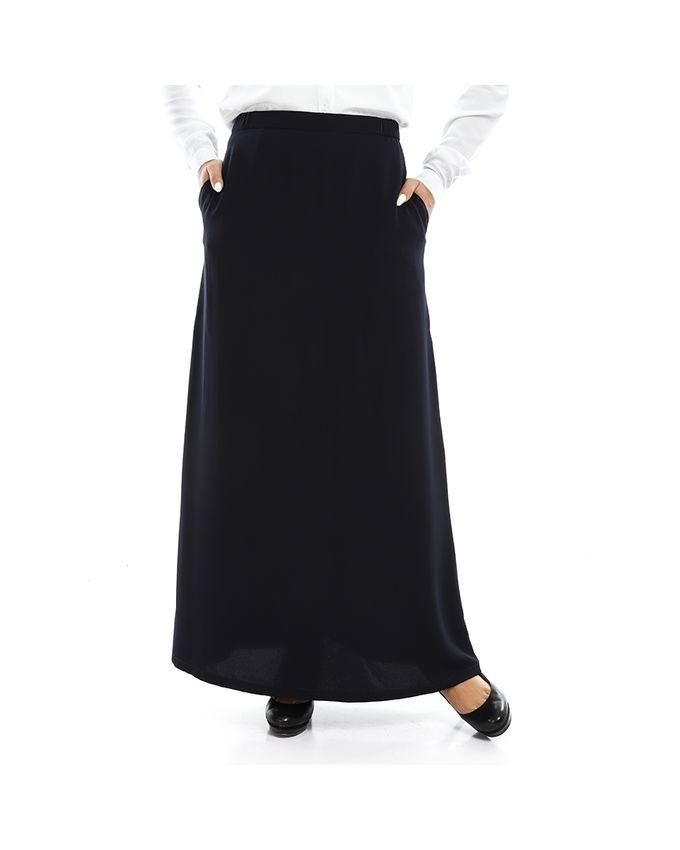 Rehan Navy Blue Crepe Skirt