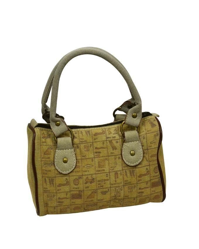 Friends Beige Linen Pharaonic Printed Hand Bag