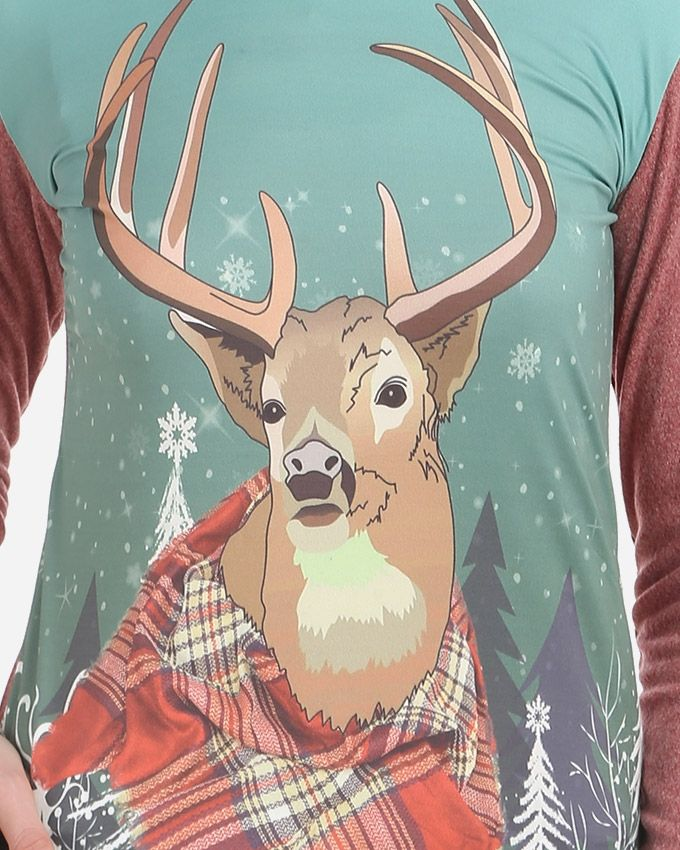 Deer Printed Top - Heather Red