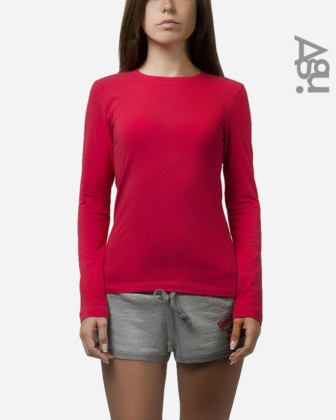 Agu Red Cotton Long Sleeves Basic T-Shirt