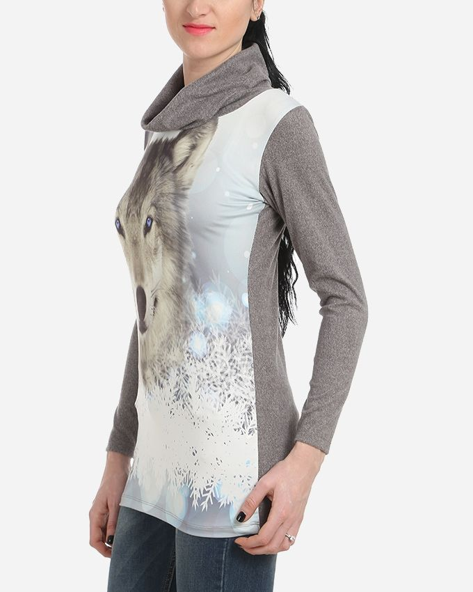 Wolf Printed Top - Heather Grey