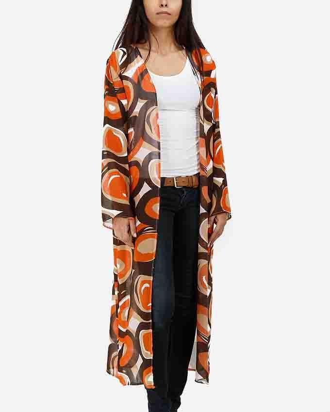 Be Positive Multicolor Aboriginal Kimono - Dark Orange logo