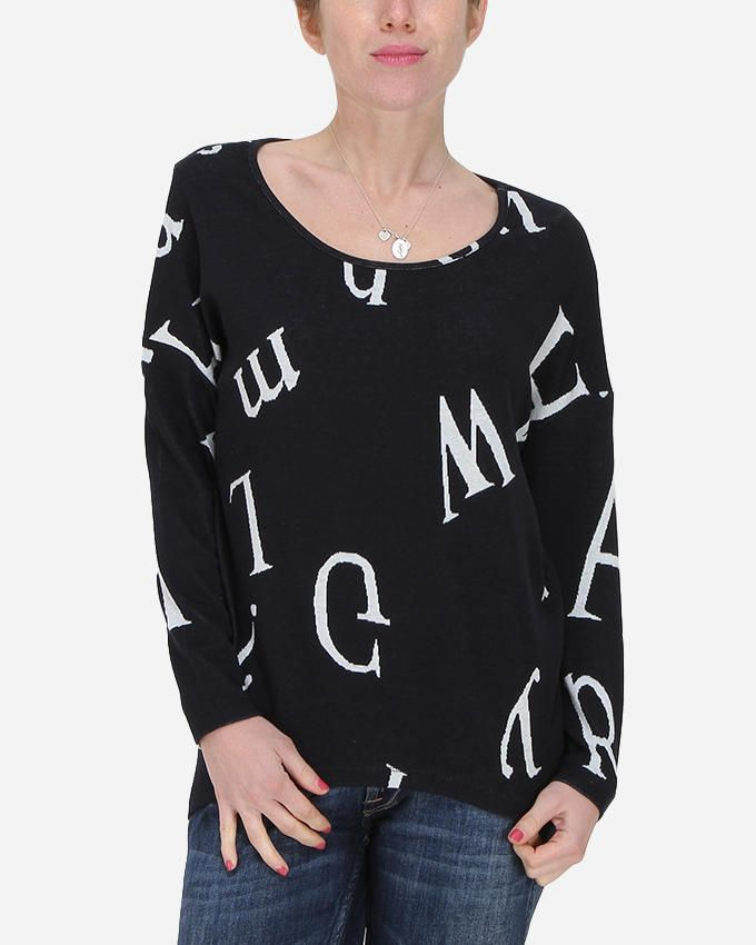 Hot Fashion Letters Hi-Low Sweater - Navy logo