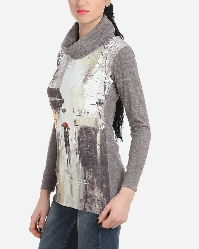 Snowflakes Printed Top - Grey