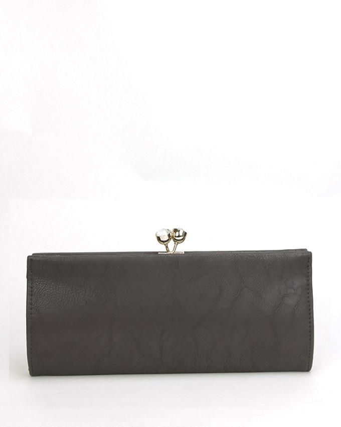 Walkies Grey PU Leather TOP LOCK CLUTCH