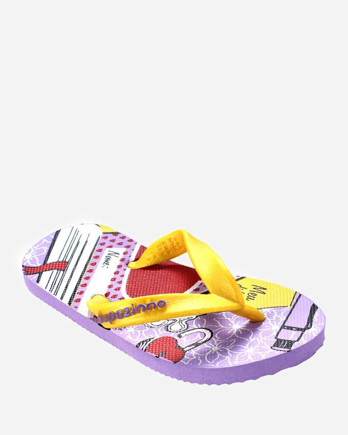 Dupѐ Purple and Yellow Flip Flop for Girls logo