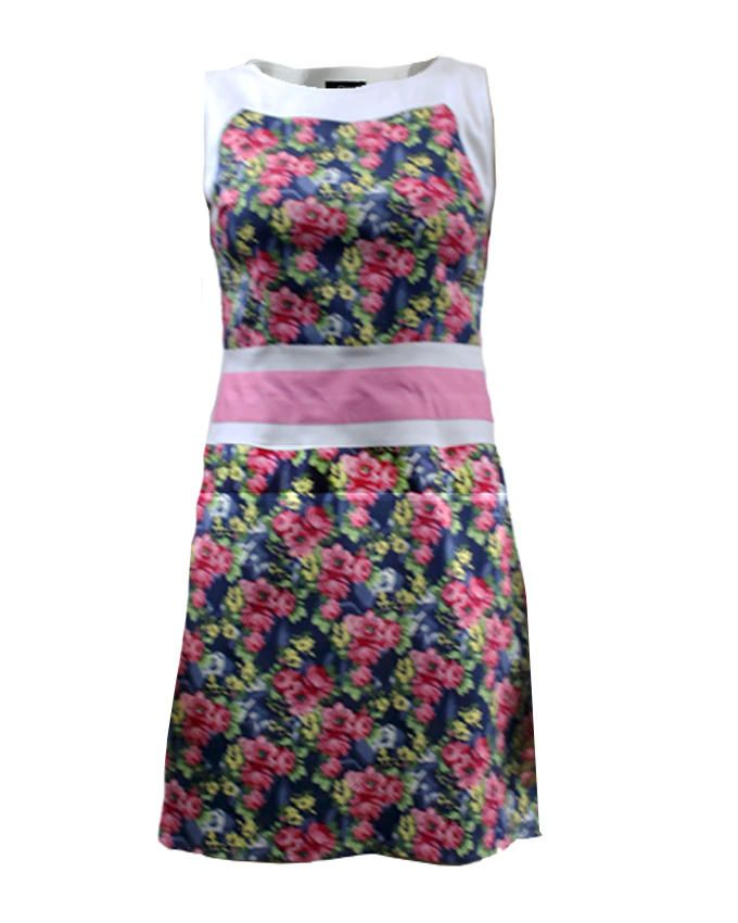 Giro Multicolour Gabardine/Cotton Sleeveless Floral Dress