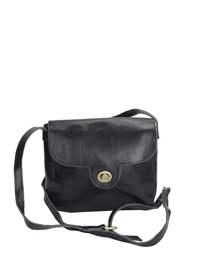 Walkies Black PU Leather TURNLOCK HANDBAG