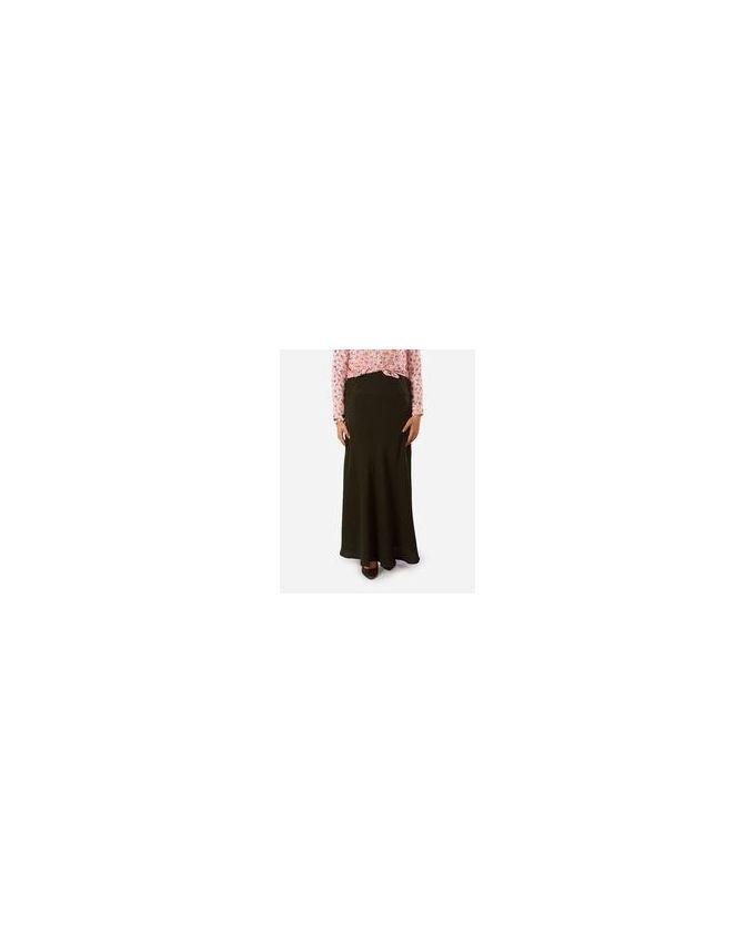 Rehan Olive Plain Crepe Skirt