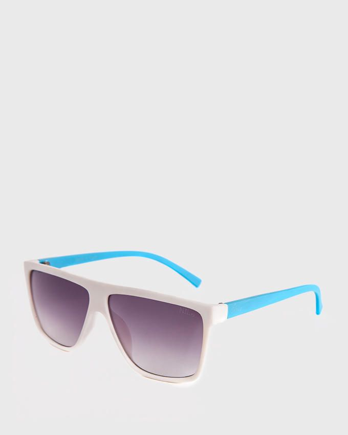Nile Wayfarer Style Sunglasses - White & Light Blue
