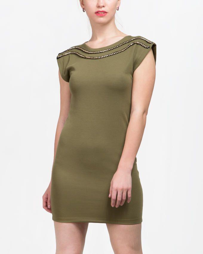 VERO MODA Double Golden Chain Dress - Olive logo