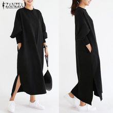 b1bf96b6e9082 ZANZEA Women Striped Dress Long Batwing Sleeve O-Neck Casual Loose Split  Maxi Long Dress