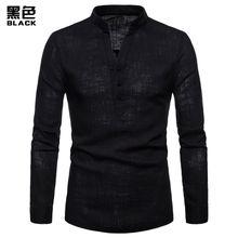 5fe01ef1e8898 جودة عالية بلون الرجال قميص الكتان هنري الياقة مقاس كبير لون خالص كم طويل  القميص عادية
