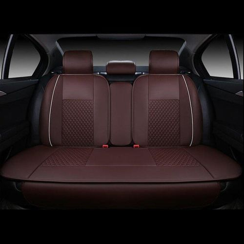 4pcs PU Leather Needlework Car Seat Covers Rear Cushion Cover For 5