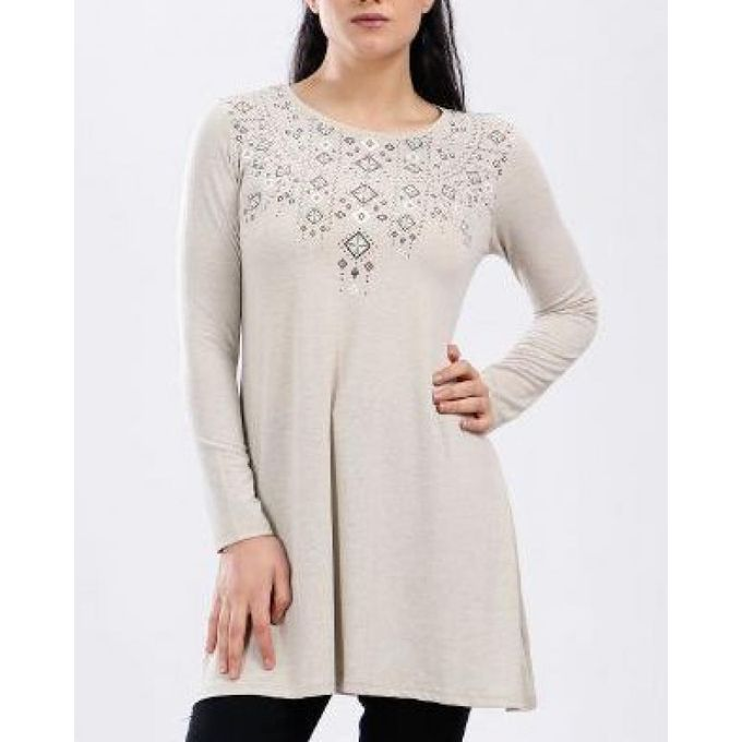75d035aca8f6e9 Order Geometric Prints Long Sleeves Tunic Top - Heather Beige at ...