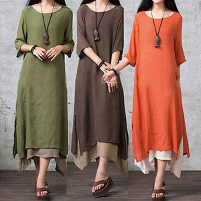 d9eb0367967 ZANZEA Women Linen Muslim Dress Summer Autumn Casual Loose Vintage O Neck  Elegant 3 4