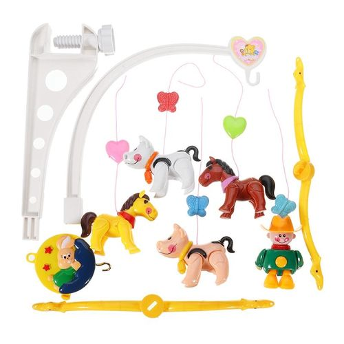 2017 High Quality DIY Hanging Music Crib Mobile Bed Bell Baby Rattle Rotating Bracket Toys