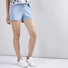 ff25c6e084a74 Ladies Shorts with Elasticised Waistband and Drawstring - LIGHT BLUE