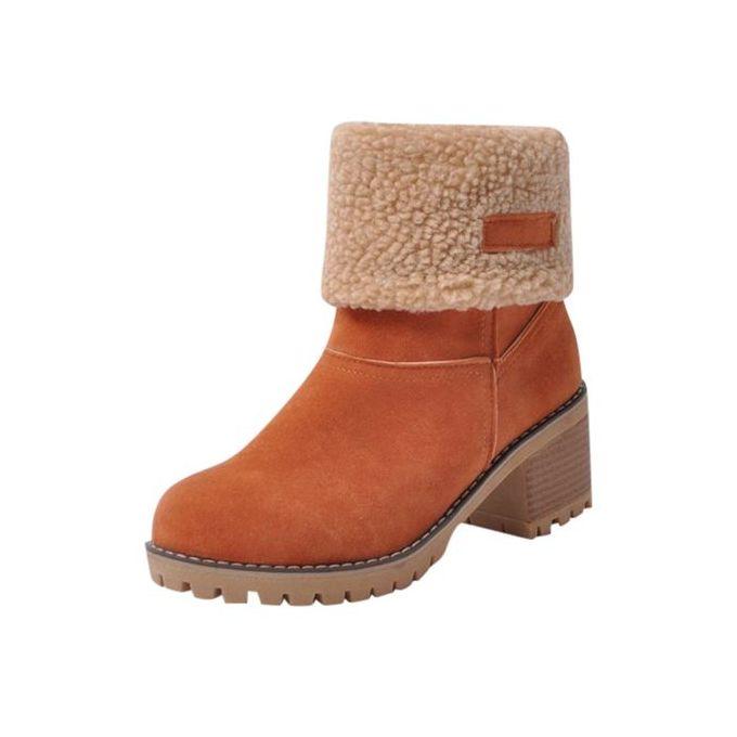 18b7b66d4c43 Jiahsyc Store Women s Ladies Winter Shoes Flock Warm Boots Martin Snow  Boots Short Bootie-Orange ...