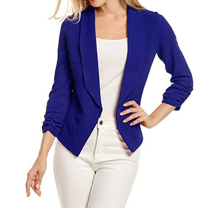 08c27a53485 Tectores Women 3 4 Sleeve Blazer Open Front Short Cardigan Suit Jacket Work  Office Coat