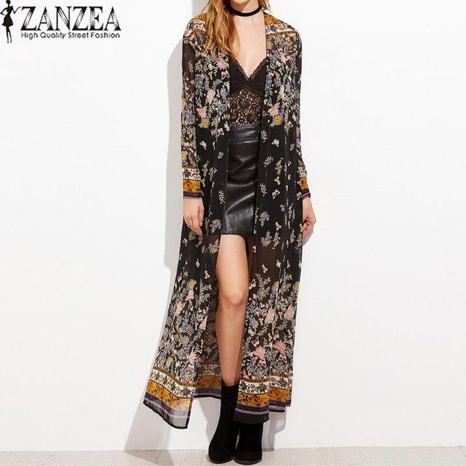 8ea95509c ZANZEA Vintage Womens Long Sleeve Boho Floral Printed Chiffon Kimono V-Neck  Summer Beach Maxi