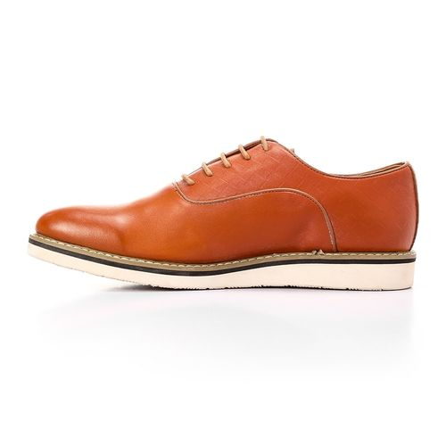 Textured Classic Leather Shoes - Camel