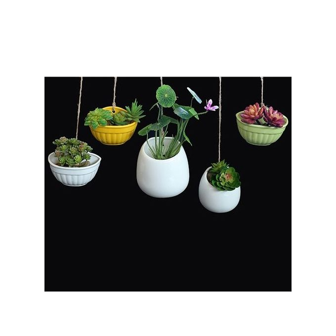 Modern Creative Ceramic Hanging Planters Succulent Plant Pots Hydroponic Flowerpot Color:white Size:Ceramic Basin –  مصر