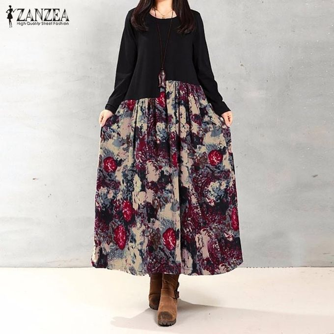 663b3ed34f9 ZANZEA Women Vintage Elegant Dress 2016 Autumn Casual Loose Long Sleeve  Print Splice Cotton Linen Maxi