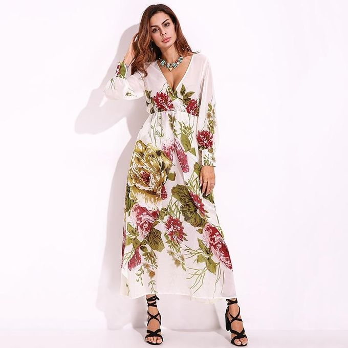 922d44e4777 Women Chiffon Casual Maxi Long Dress Plus Size S-5XL Floral Party Beach  Sexy Long