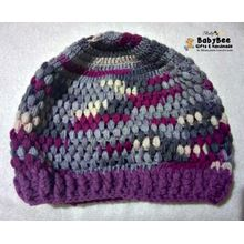 Handmade Ice Cap Hat - Grey  amp  Purple - Wool - Suitable For Both Genders 9b762d4ace1a