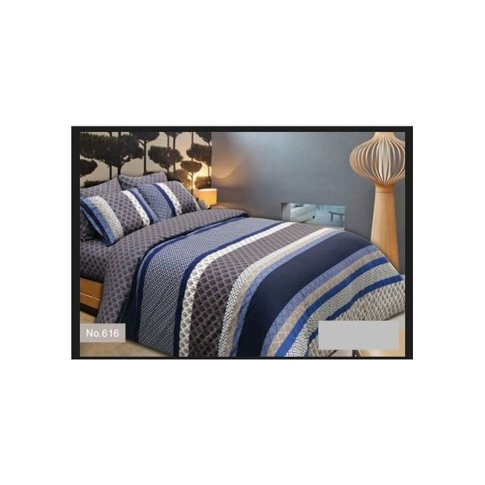 Printed Bed Linen Set – 4 Pcs – Grey –  مصر