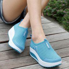 9c378ba52506 Jiahsyc Store Fashion Women Platform Shoes Women Loafers Breathable Air  Mesh Swing Wedges Shoe-Sky
