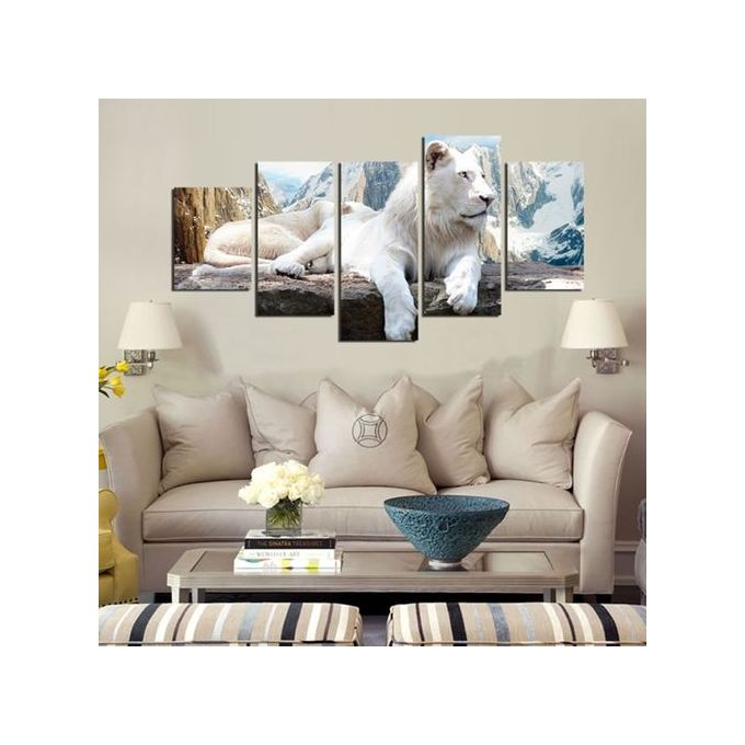 sale on generic 5pcs white tiger printed landscape oil painting