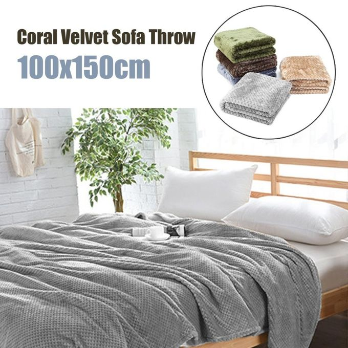 Coral Velvet Super Soft Warm Throw Sofa Blanket Cover Bed Yoga Spread Flat Sheet Grey –  مصر
