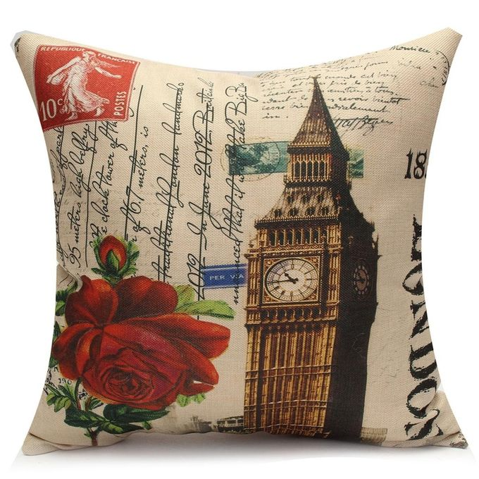 Vintage Case Sofa Waist Throw Bed Cotton Linen Home Decor Cushion Cover Pillow #01 –  مصر