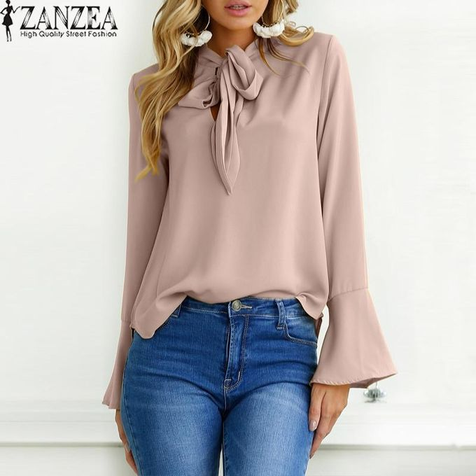 fe9ea13c949a26 ZANZEA Oversized Women Solid Long Flare Sleeve Lace Up Bow Tie Loose Chic Pullover  Fashion Leisure