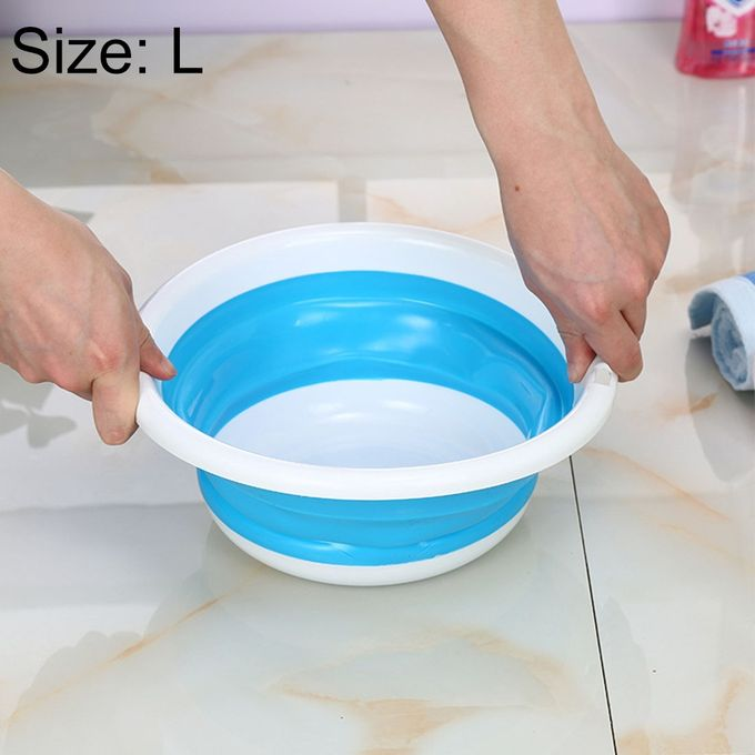 Home Portable Environmental Silicone Travel Folding Wash Basin, Size: L –  مصر