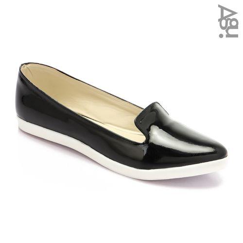 Casual Faux Leather Women Ballerina - Black