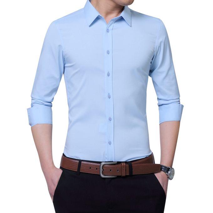 be74f7cd5de Sale on Men s Long-sleeved All-match Shirt - Light Blue