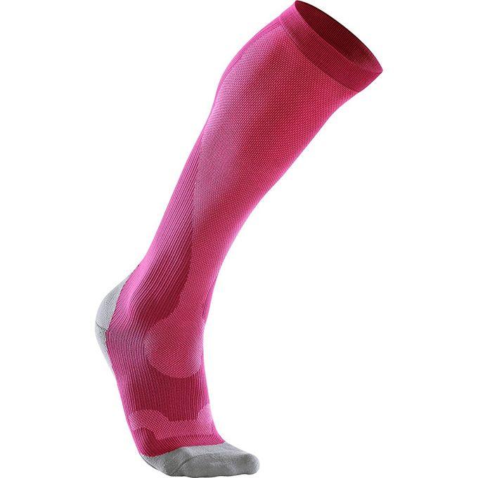 2XU Womens Compression Performance Run Socks [Hot Pink/Grey, X-Small]
