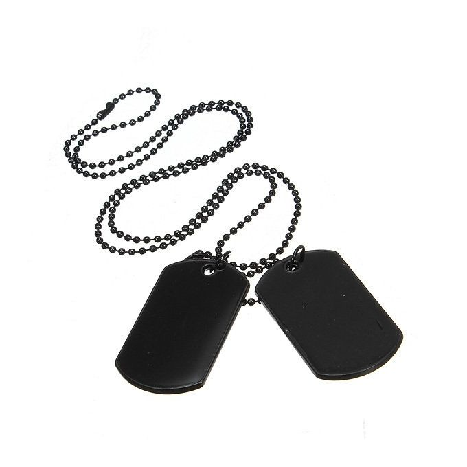 fb92e4d09 Men'S 2Pcs Alloy Pendant Necklace Black Dog Tag Army Style Tribal 26 Inch  Chain
