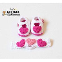 Handmade Baby Set (Shoes + Headband ) - Hearts - Cotton - Pink 0697212d1763