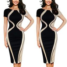 63a8d9e18c Fovibery Fashion Womens Sexy Bodycon Short Sleeve Party Business Style  Pencil Mini Dress