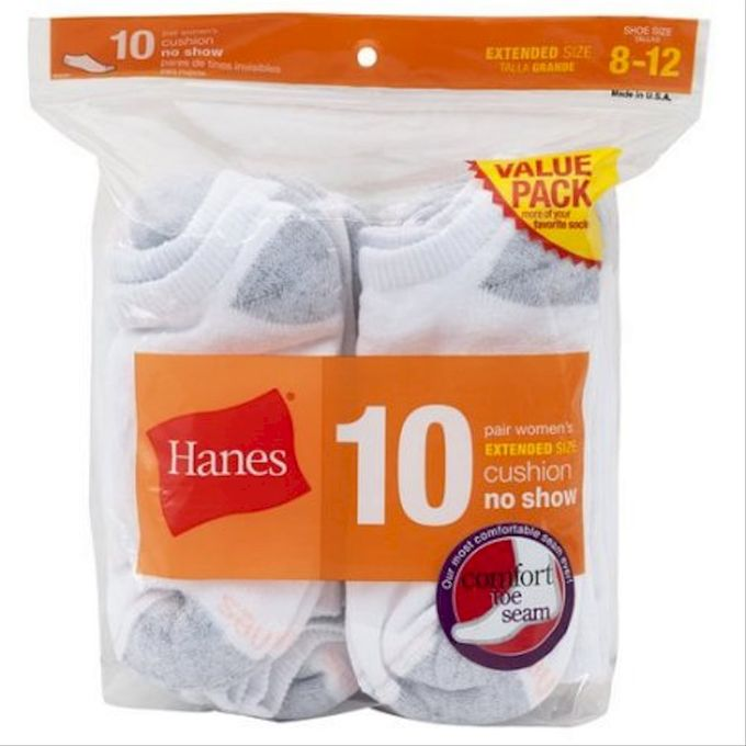 Hanes Womens Comfort Toe Seaming No Show Socks Size 8-12 10-Pack